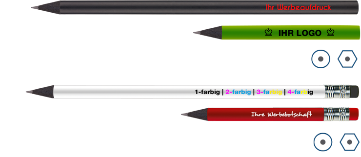 schwarze Bleistifte bedruckt